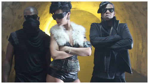 "Kanye West, Rihanna and Jay-Z on the set of the ""Run this Town"" video"