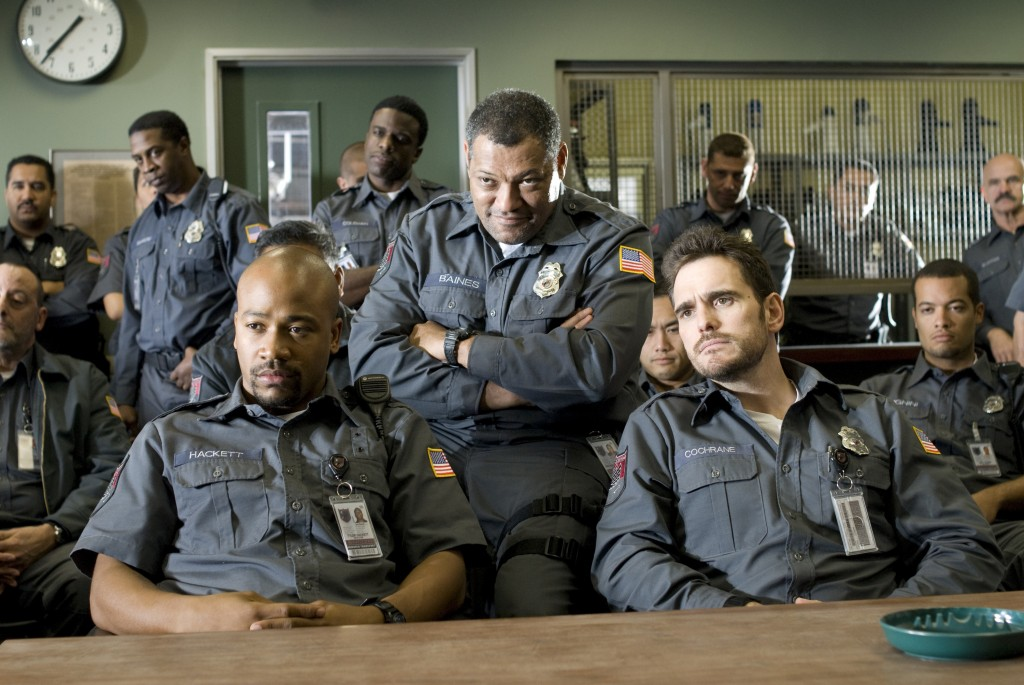 (l to r) Columbus Short, Laurence Fishburne and Matt Dillon star in Screen Gems' action thriller ARMORED.